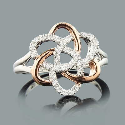 White rose gold flower ring with diamonds 018ct 14k mightylinksfo