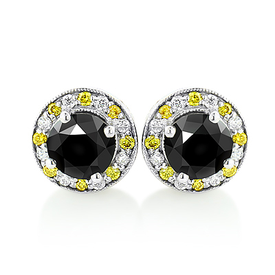 White Yellow and Black Diamond Stud Earrings 2.20ct 14K Gold Main Image