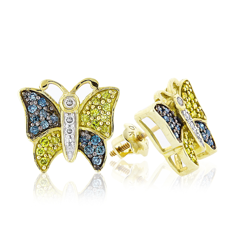 White Yellow Blue Diamond Butterfly Earrings 0.50ct 10K Gold Main Image