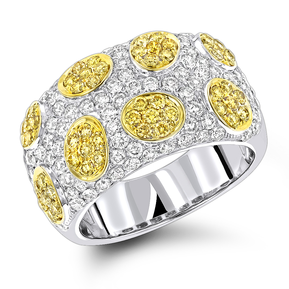 White Yellow Diamond Band 2.38ct 14K Gold Unique Ladies Ring White Image