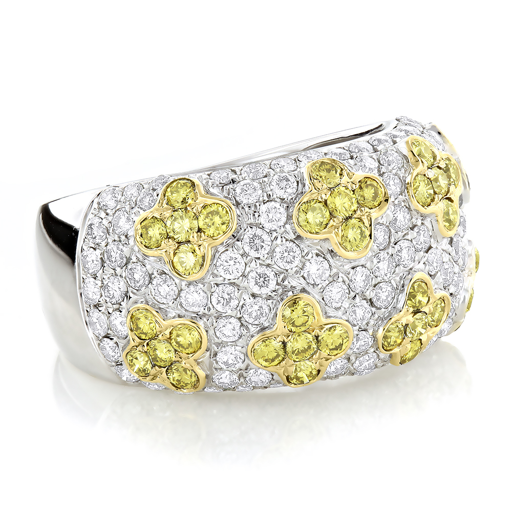 White Yellow Diamond Band 2.59ct 14K White Image