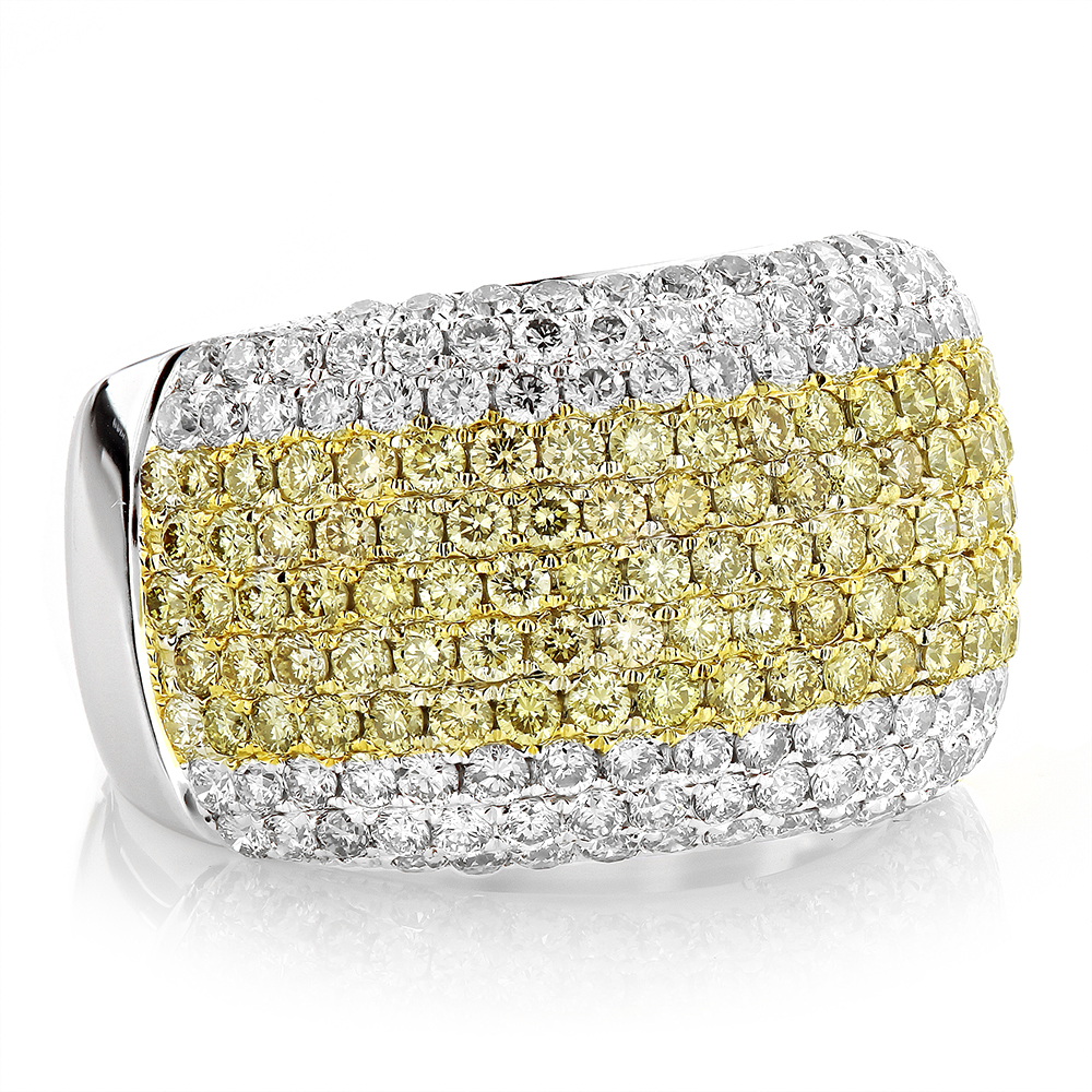 White Yellow Diamond Band for Women 3.35ct 14K Gold Anniversary Ring Two Tone Image