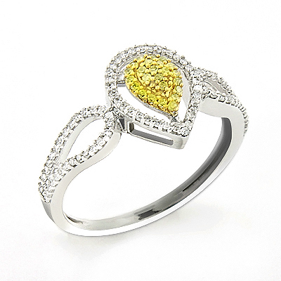White Yellow Diamond Engagement Ring 0.31ct 14K Gold Main Image