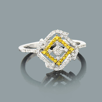 White Yellow Diamond Right Hand Ring 0.30ct 14K Gold