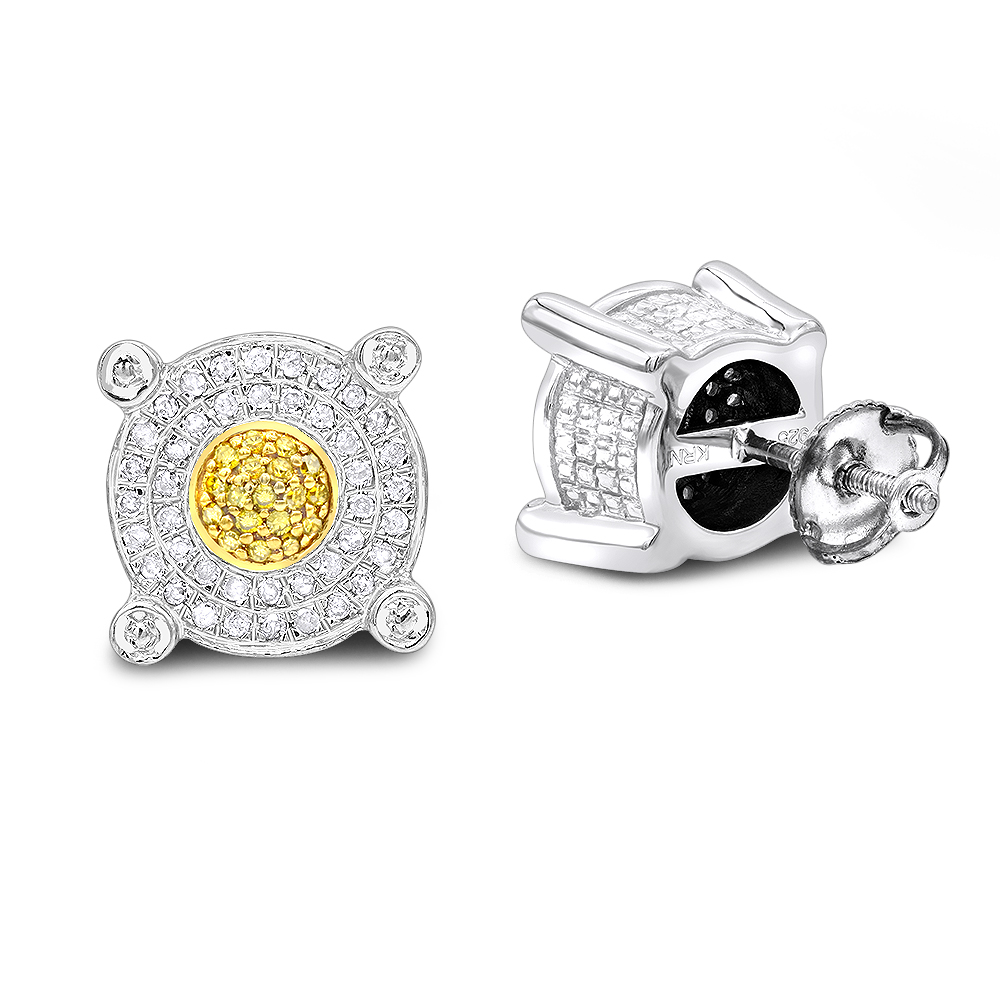White Yellow Diamond Stud Earrings 0.33ct Sterling Silver Main Image