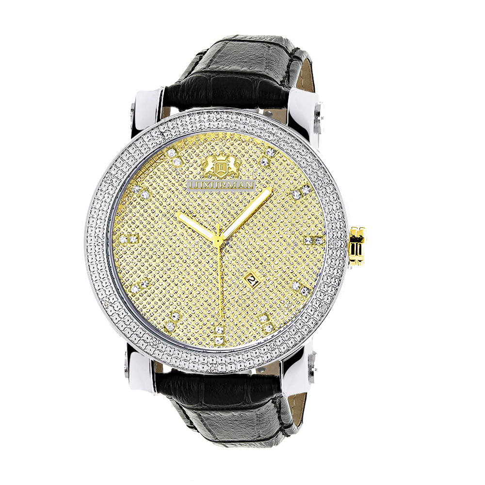 White & Yellow Gold Luxurman Mens Diamond Watch 0.18ct Black Leather Band Main Image