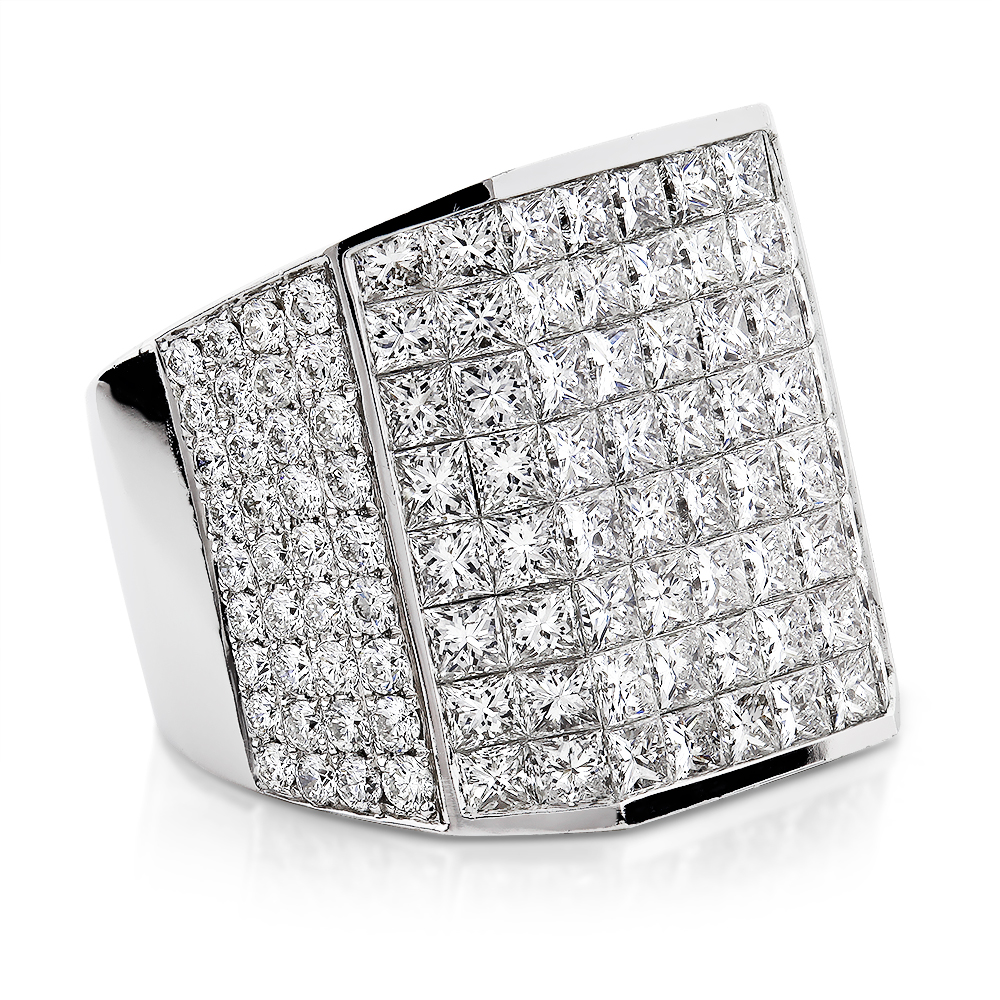 Wide 14K Gold Designer Round and Princess cut Diamond Ring for Men 13.9ct