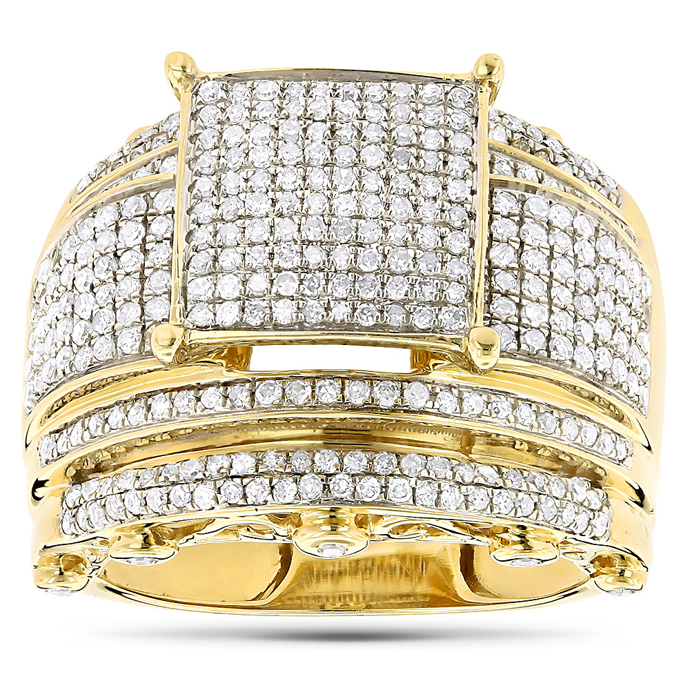 Wide Engagement Ring with Diamonds 10K Gold 1.29ct Yellow Image