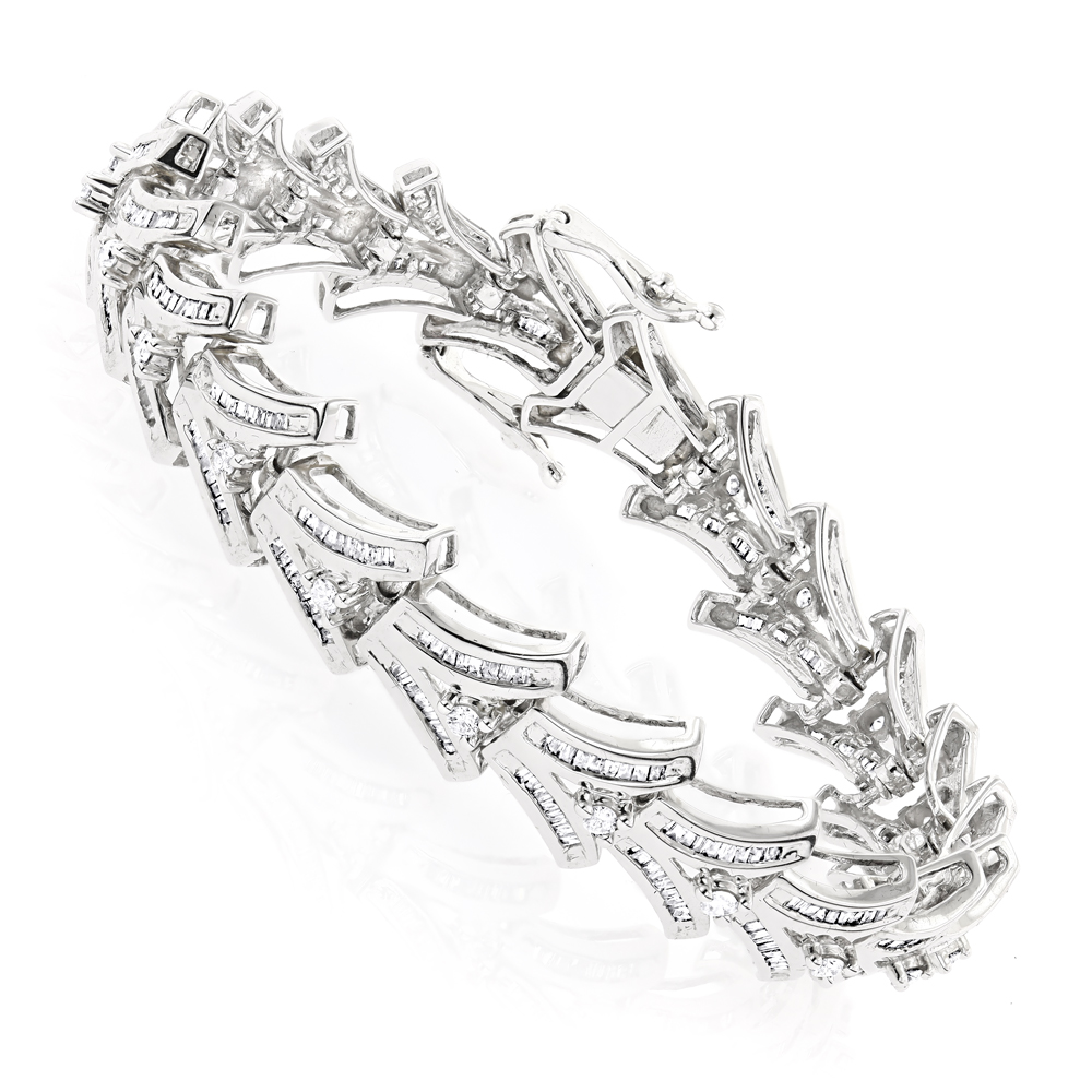 Womens 14K Gold Baguette Diamond Bracelet 4.95ct White Image
