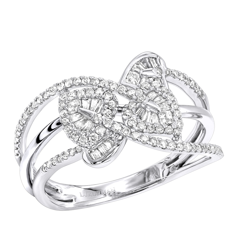 Womens 14K Gold Diamond Leaf Cocktail Ring 0.5CTW by Luxurman White Image