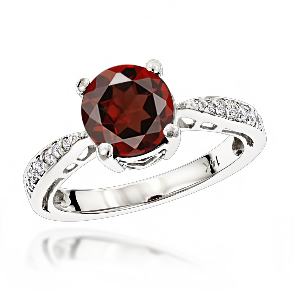 Women's Affordable 1 1/2 Carat Garnet and Diamond Engagement Ring White Image