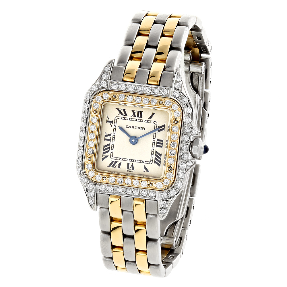 Womens Cartier Panthere Mini 18K Gold Steel Vintage Diamond Watch 21mm 1ct Main Image