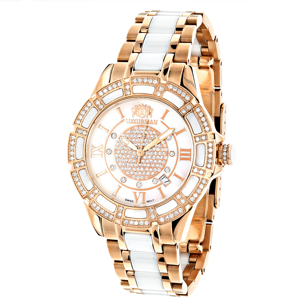 Womens Ceramic Watches Rose Gold Diamond Two Tone White MOP Luxurman Galaxy Main Image