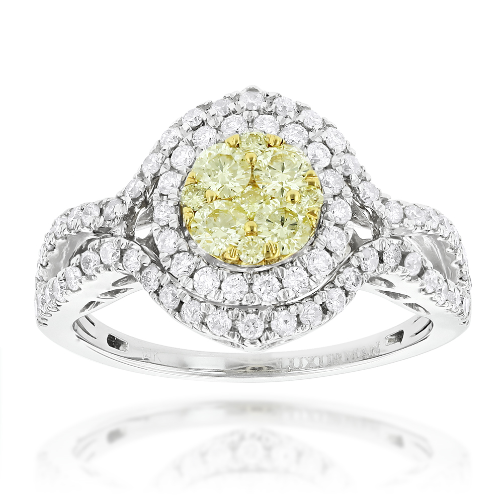Women's Cluster Rings: 14K Gold White Yellow Diamond Engagement Ring 1.15ct White Image