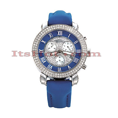 Womens Diamond Benny Co Iced Out Watch 1.9ct Blue