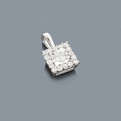 Womens Diamond Pendant 10K Gold 1 Carat Princess Look Main Image