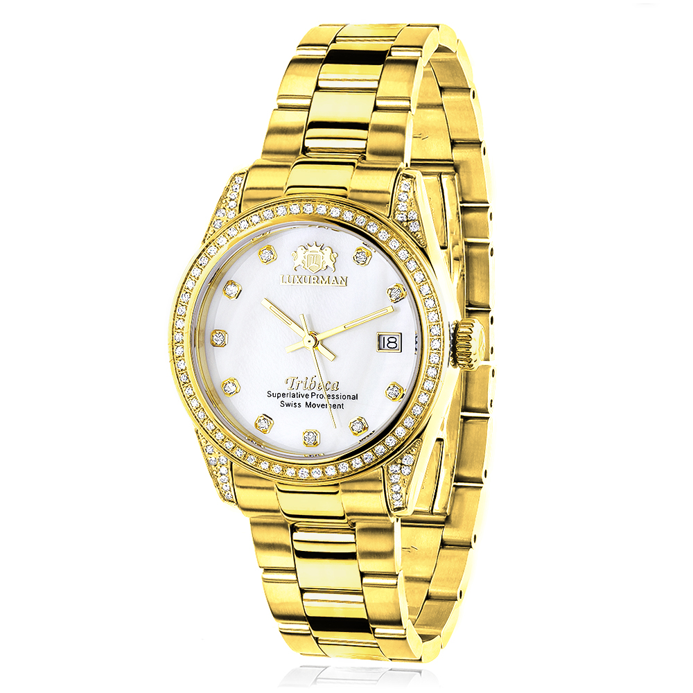 Women's Diamond Watch Yellow Gold Plated Luxurman Tribeca 1.5ct Main Image