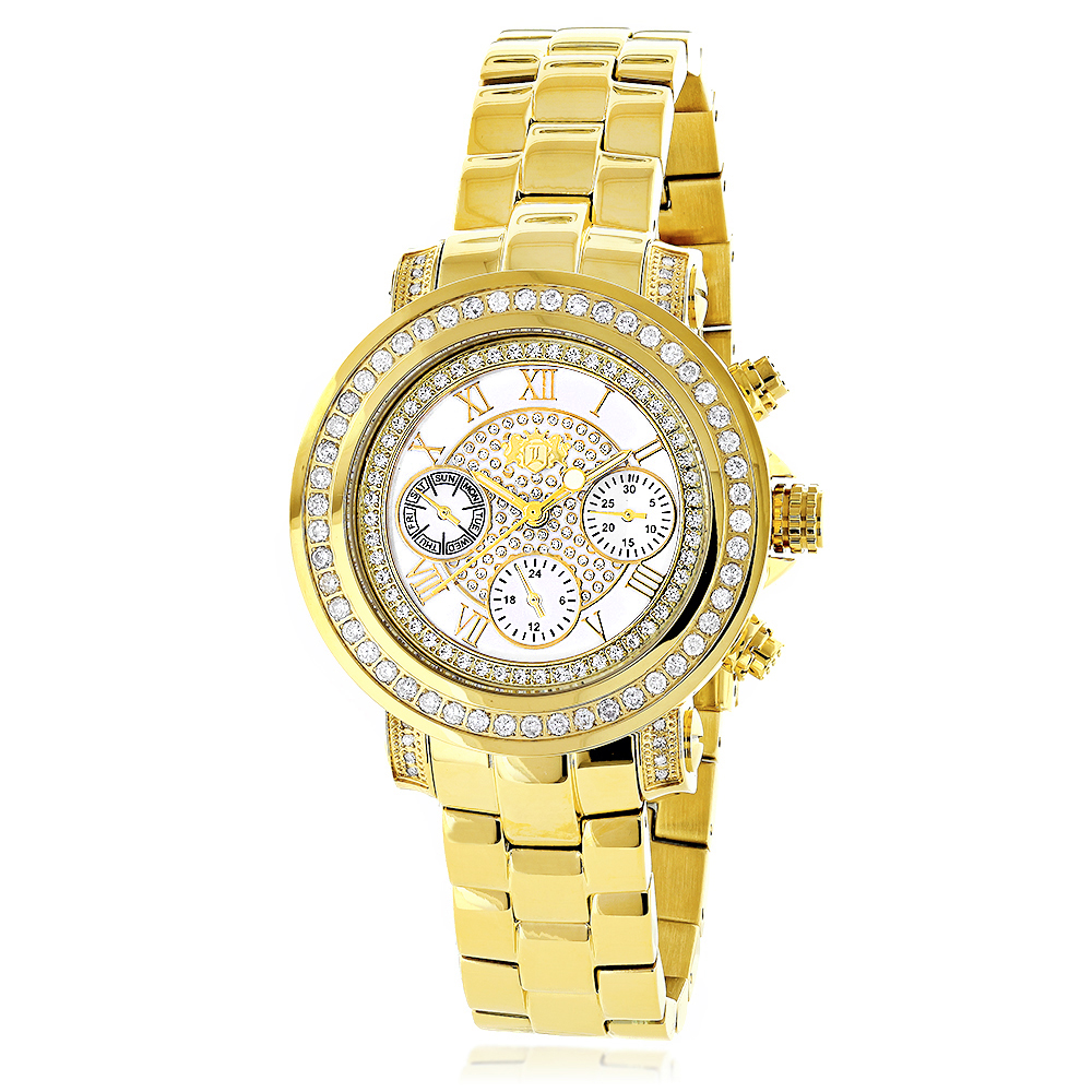 Womens Diamond Yellow Gold Plated Watch Luxurman Montana White Mop 2ct Main Image