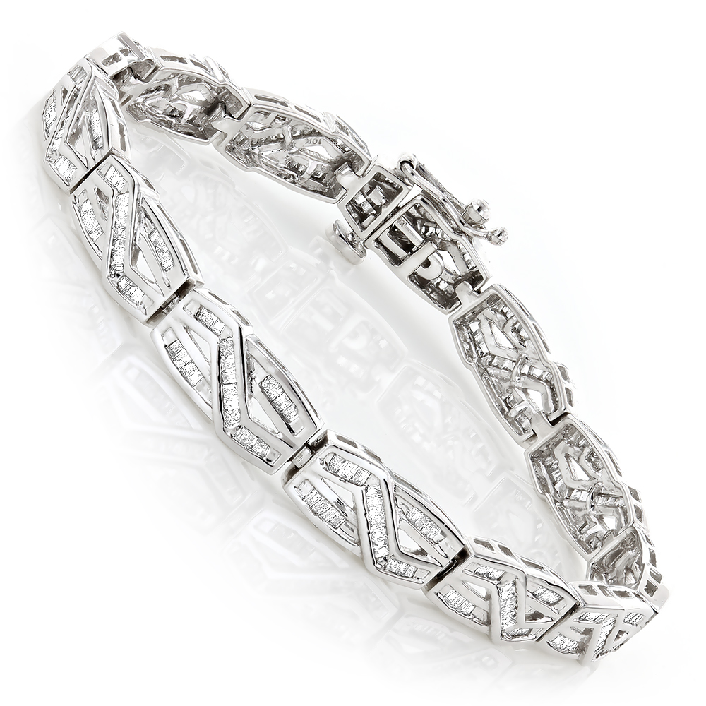 Womens Infinity Baguette Diamond Bracelet 2.84ct White Image