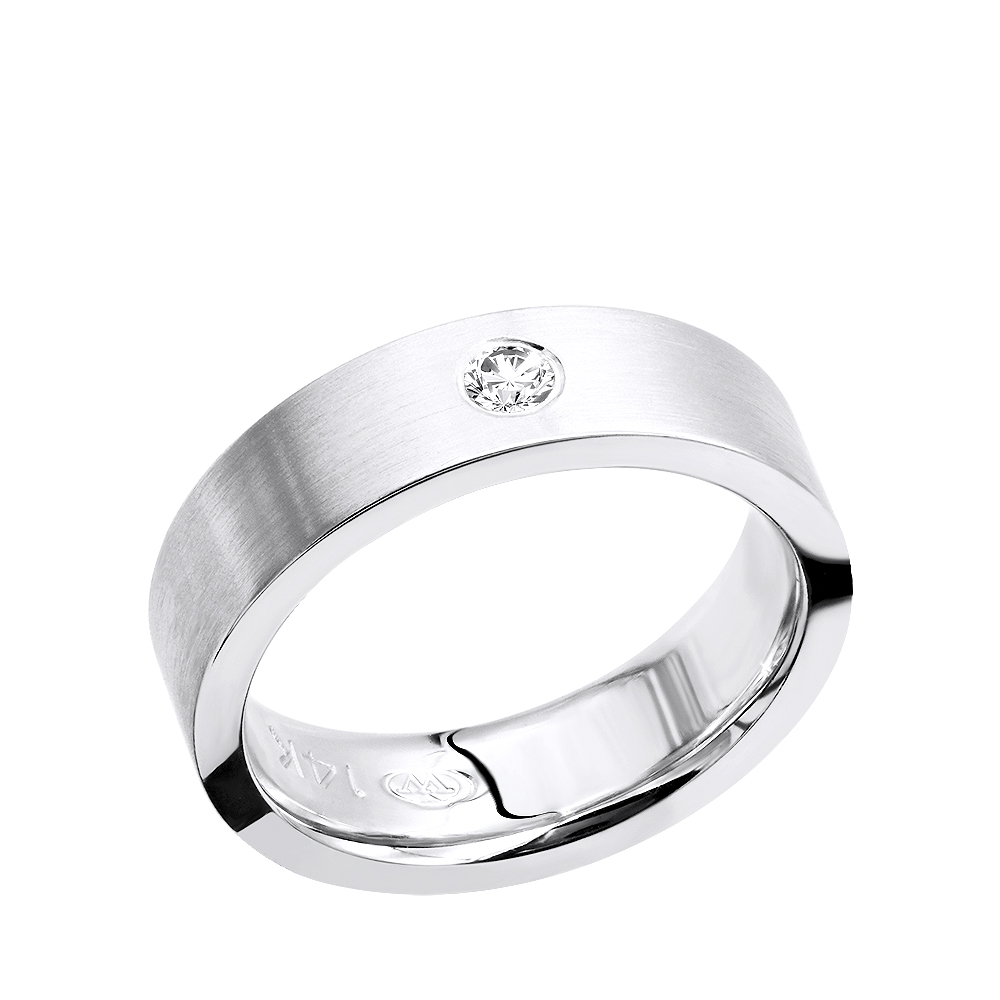 This is an image of Womens or Mens Solitaire Diamond Wedding Band in 42k Gold Comfort Fit