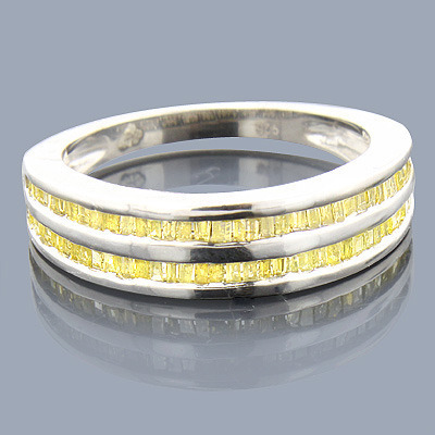 Yellow Baguette Diamond Wedding Band .58ct Sterling Silver