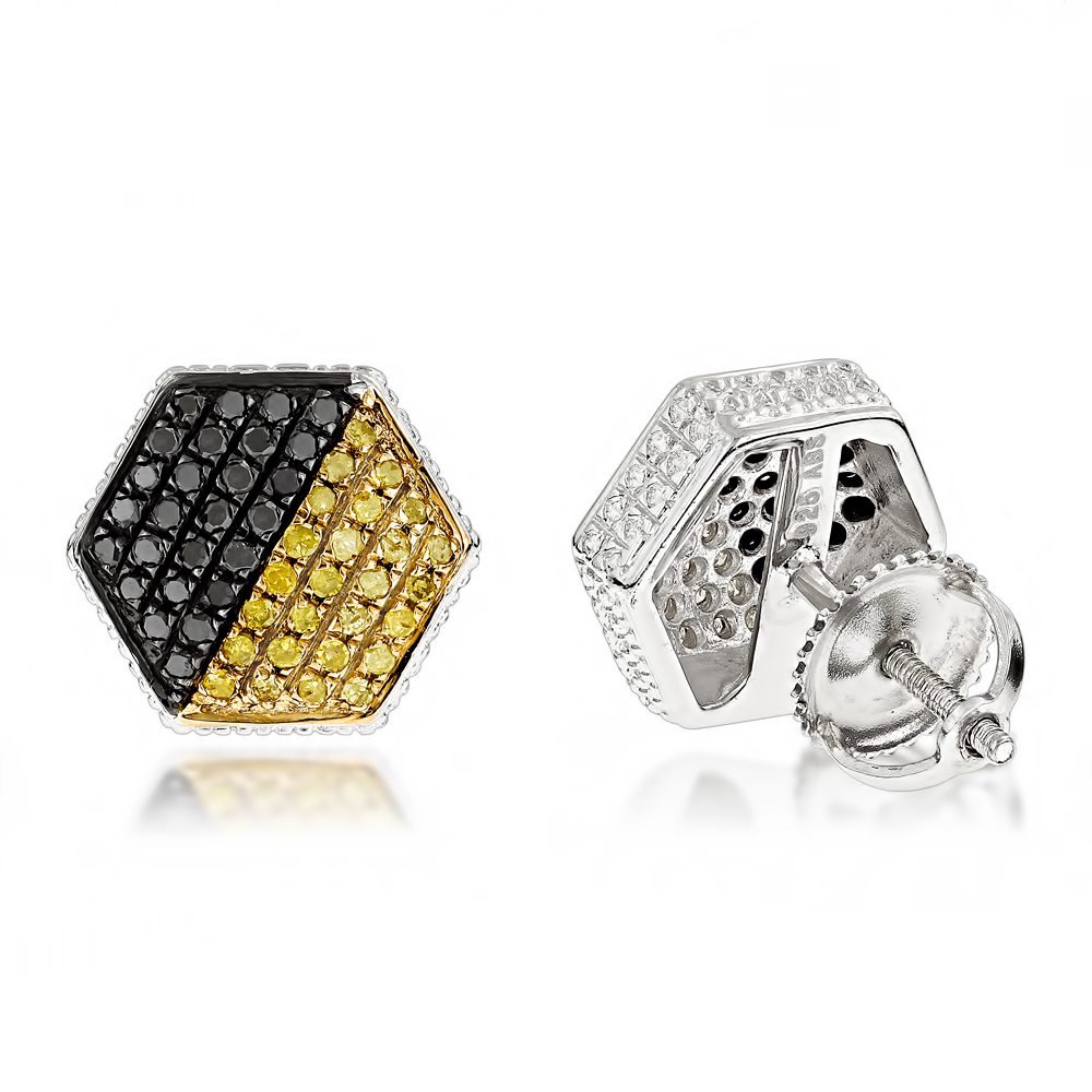 Yellow Black Diamond Earrings 0.65ct Sterling Silver Main Image
