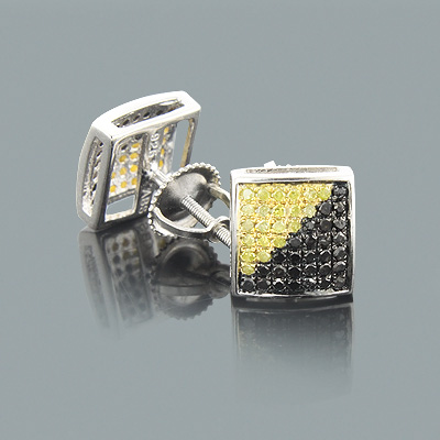 Yellow Black Diamond Earrings 0.75ct Sterling Silver Main Image