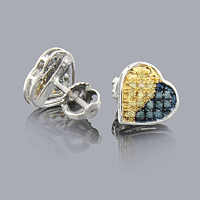 Yellow Blue Diamond Heart Earrings 0.1ct 10K Gold