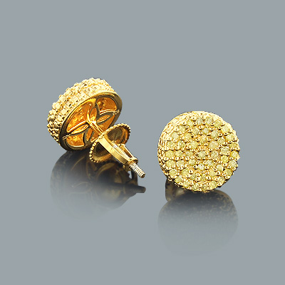 Yellow Diamond Earrings 0.4ct Gold Plated Sterling Silver Studs Main Image