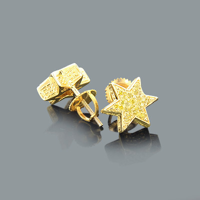 Yellow Diamond Star Earrings 0.35ct Gold Plated Silver