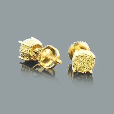 Yellow Diamond Stud Earrings 0.25ct Sterling Silver Main Image