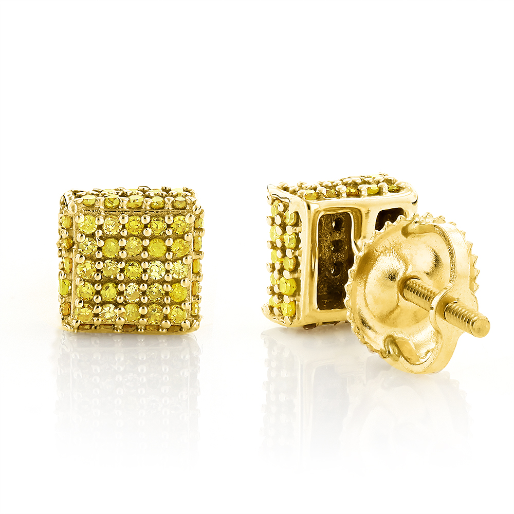 Yellow Diamond Stud Earrings 0.53ct 10K Gold Yellow Image