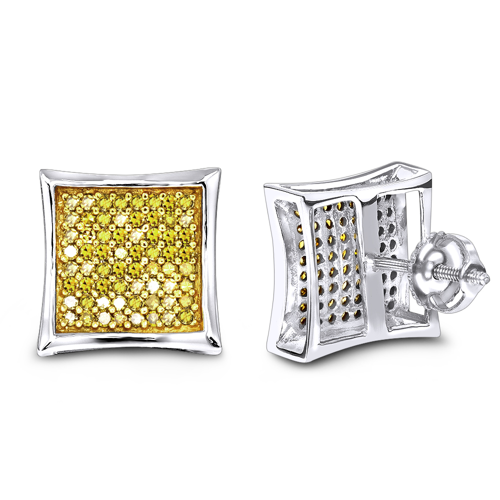 Yellow Diamond Stud Earrings 0.55ct 14K Gold  White Image