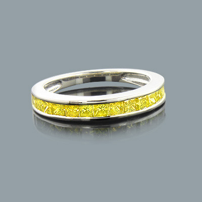 Thin Yellow Diamond Wedding Band in Sterling Silver 1.35ct