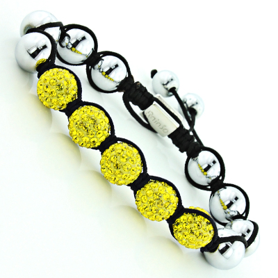 Yellow Disco Ball Bracelet with Crystals and Hematite Beads