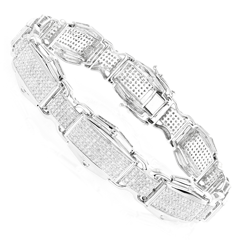 Rose White Yellow Gold Diamond Bracelet for Men 10K 3.48ct White Image