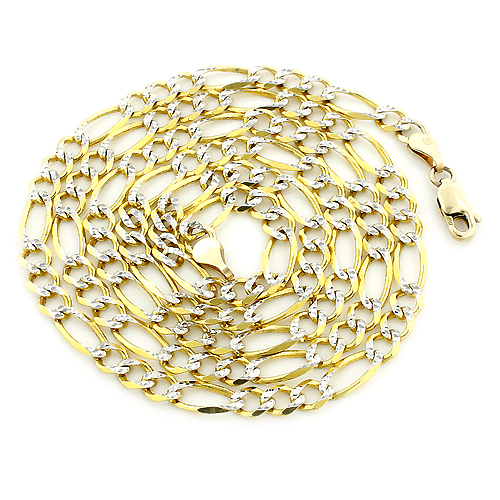 Yellow Gold Diamond Cut Figaro Chain for Men 10K 4.5mm 22-24in Main Image
