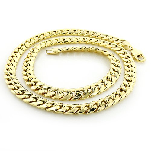 9mm Yellow Gold Miami Cuban Link Curb Chain for Men 10K 22-40in Main Image