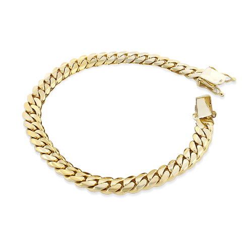 0d93b150ad877 Yellow Gold Miami Cuban Link Curb Chain Bracelet 14K 3mm 7.5-9in