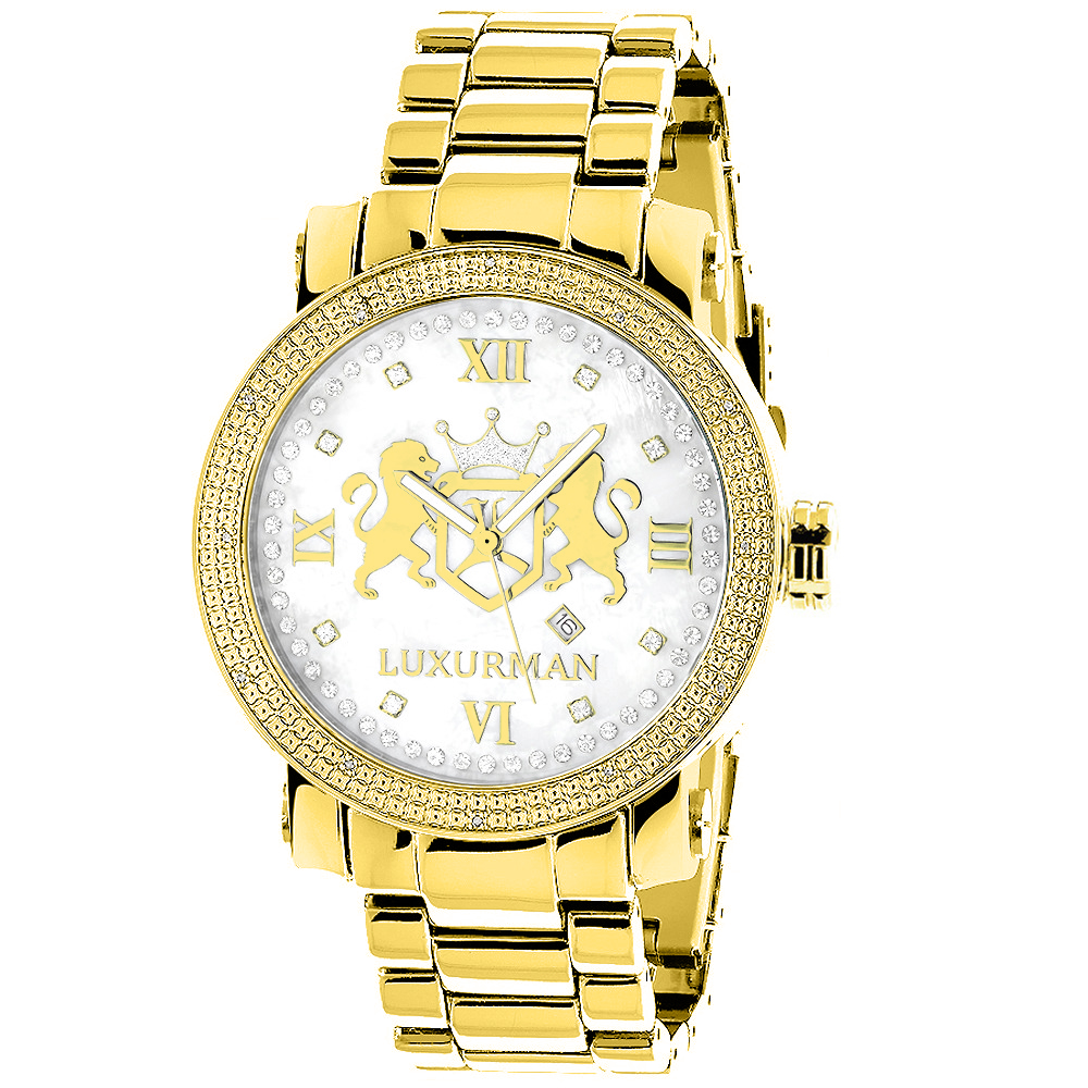 Large Yellow Gold Plated Diamond Watch for Men by Luxurman Phantom 0.12ct