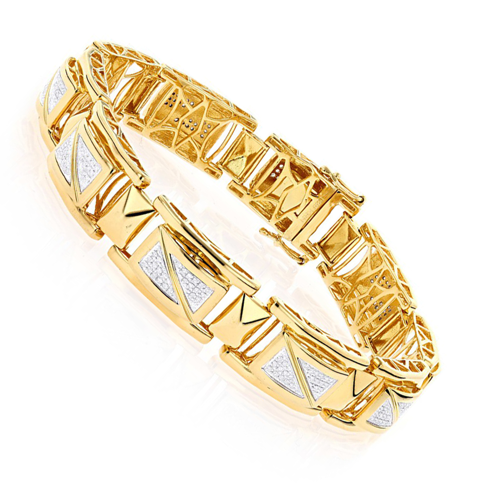 Yellow Gold Plated Silver Diamond Bracelet for Men 0.50ct Main Image