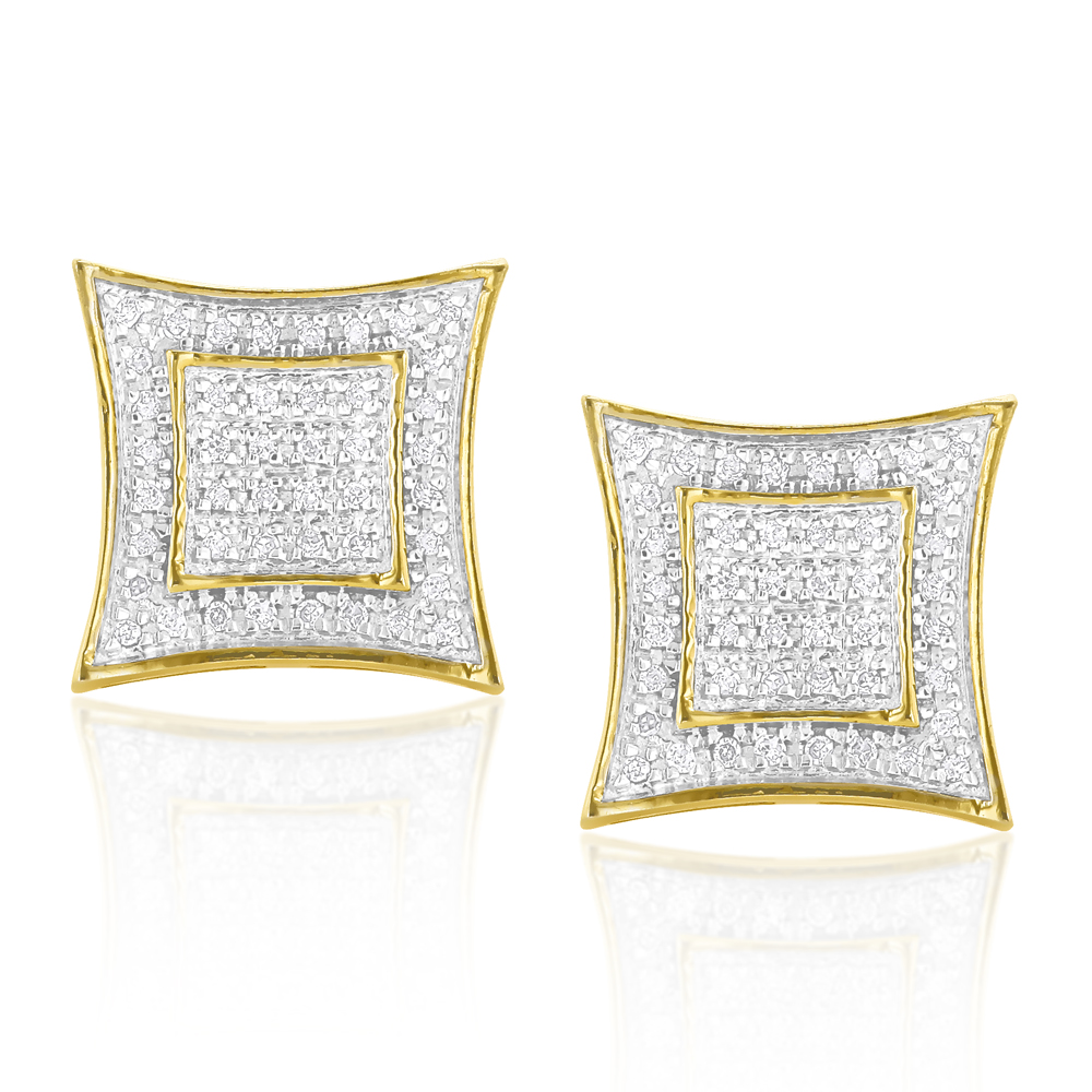 Yellow Gold Plated Silver Diamond Earrings 0.25ct Yellow Image