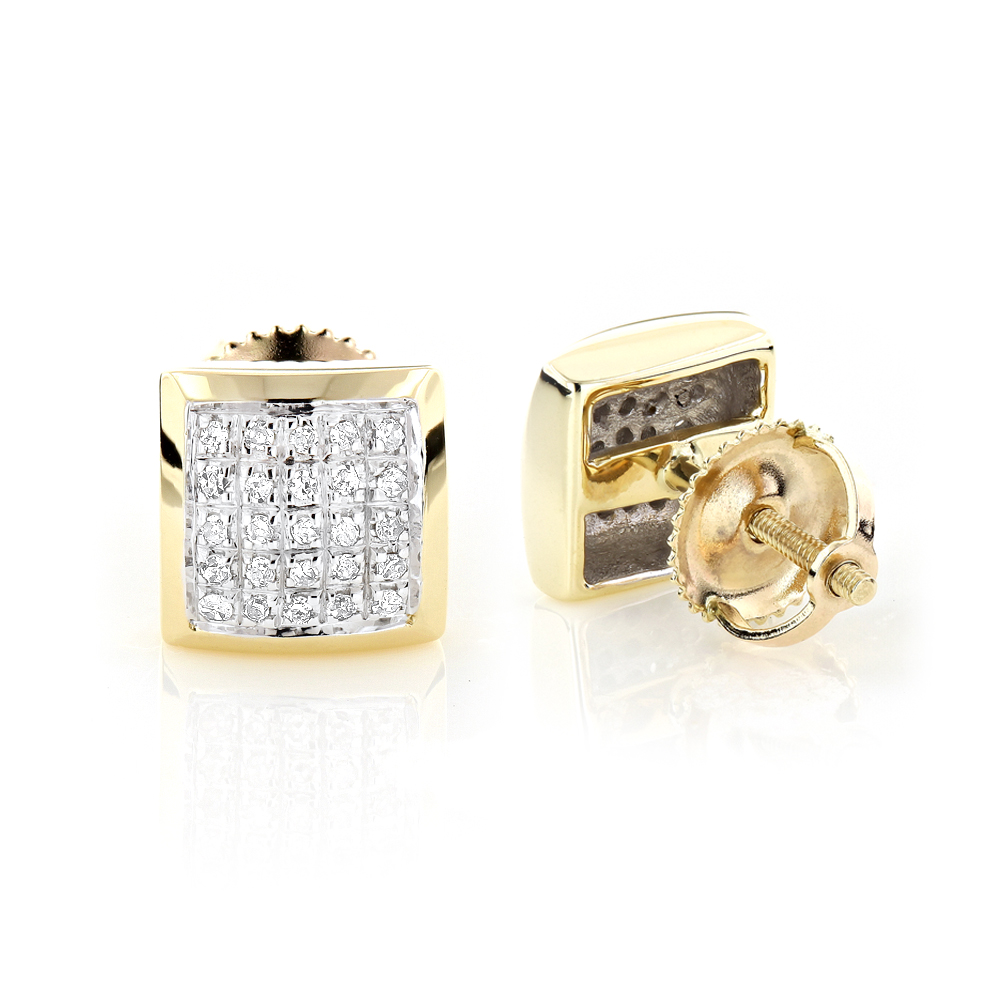 Yellow Gold Plated Sterling Silver Diamond Stud Earrings 0.35ct  yellow-gold-plated-sterling-silver-diamond-stud-earrings-035ct_1