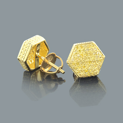 Yellow Gold Plated Yellow Diamond Earrings 0.65ct Sterling Silver Main Image