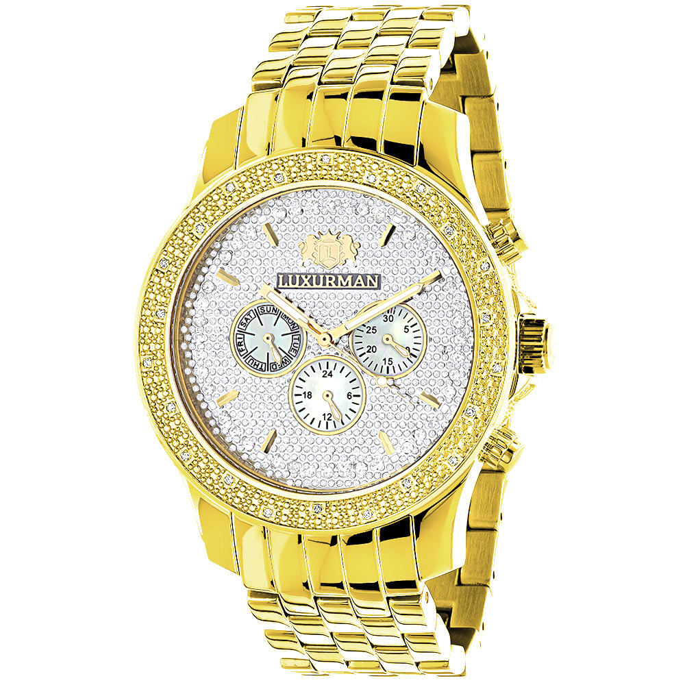 Yellow Gold Tone Watches: Luxurman Mens Diamond Watch 0.25ct  Main Image
