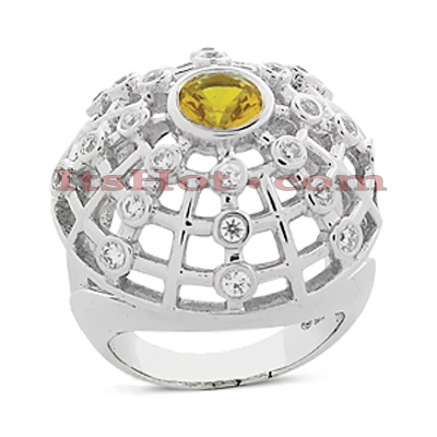 Yellow Sapphire Cocktail Ring with Diamonds 14K 0.60ctd 1.00cts