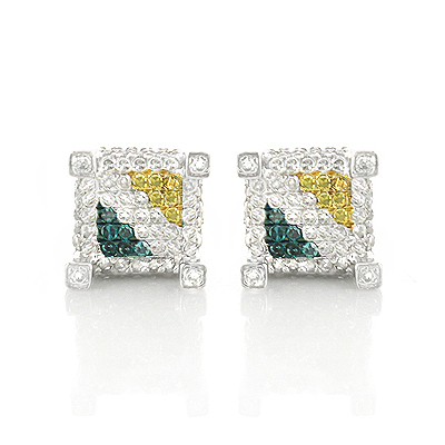Yellow White Blue Diamond Earrings Studs 0.61ct Sterling Silver Main Image